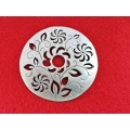 Pandantiv zamac argintat cu flori 73mm