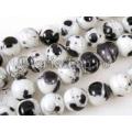 Margele sticla dalmatian alb 12mm x10