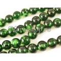 Margele sticla dalmatian verde clar 10mm x10