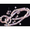 Margele cristal cub 4mm roz irizatii 10b