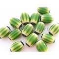Margele chevron verde-galben oval 14 2b