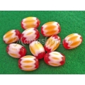 Margele chevron galben-rosu oval 14 2b