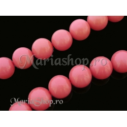 Perle sticla Mall 12mm roz-somon 3b
