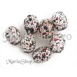 Margele ovale 14mm negru-rosu 5b