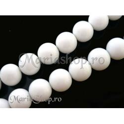 Perle sticla Mall 12mm albe 3b
