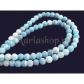 Agate frosted 6mm bleu-turcoaz 5b