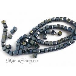 Margele cristal cub 4mm negru irizatii 10b