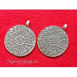 Pandantiv zamac argintat simboluri 48x38mm