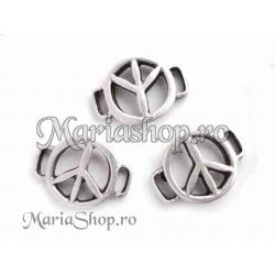 Zamac argintat - link bratara peace