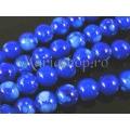 Margele sticla dalmatian albastru opac 12mm x10