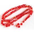 Margele cristal cub 4mm rosu irizatii 10b