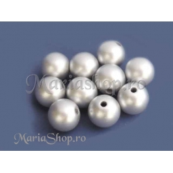 Margele acril sfera 12mm argintiu x5