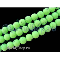 Margele sticla rubber verde mint 8mm 10b